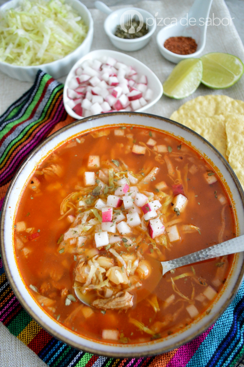 Pozole Rojo with radish and onion